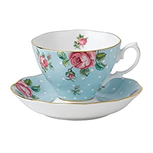 Royal Albert Modern Vintage POLBLU26135 Teacup & Saucer, 2 Piece Set Polka Blue, Multi Colour, Bone China