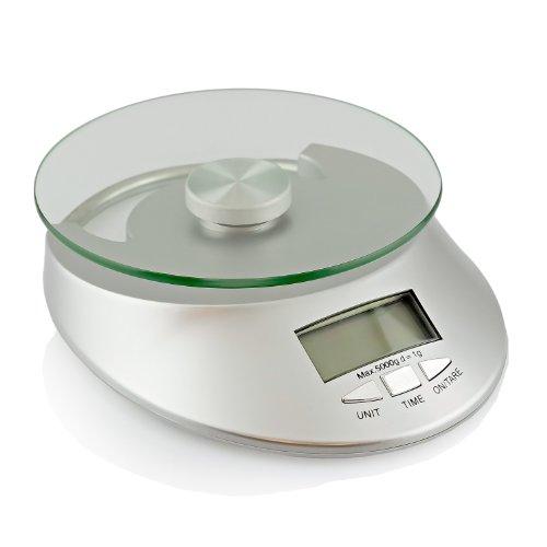 Digitale Küchenwaage Briefwaage Feinwaage - Digitalwaage Messbereich bis 5Kg - Silber - TARA Funktion mit Zeitanzeige - LCD Display- Original Qualilux