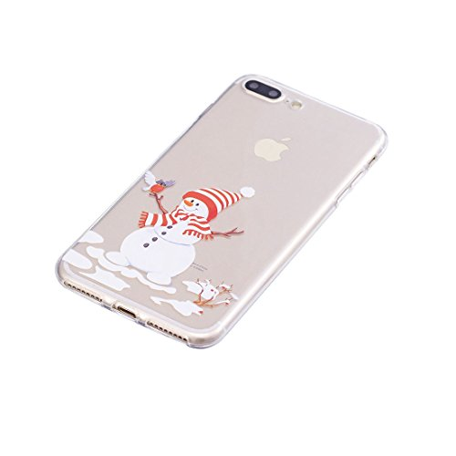 iPhone 7 Plus Copertura,Merry Christmas Pattern Ultra sottile Custodia in TPU Gel [Transparent] Copertura posteriore in gomma flessibile Copertura protettiva Case for iPhone 7 Plus colour 1