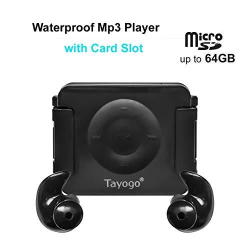 Tayogo Wasserdichter MP3-Player mit Kartenschlitz und Shuffle-Funktion schwarz