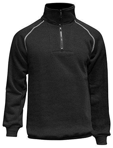 workAnt Herren warme Jacke-Pullover, Robustes Langarm-Sweatshirt Kurz Zip Fleecjacke - Made in EU - schwarz 6XL