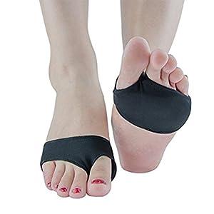 ROSENICE Vorfuß Einlegesohle Silikon Gel für Füße Schmerzlinderung Hallux Valgus 2 Löcher – M (Schwarz)
