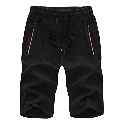 WDDGPZDK Strand Shorts/Sommer Shorts Baumwolle Mens Casual SLIN Passen Solide Strand Mann Shorts Mann Compression Shorts Stecker, Schwarz, XXL (Kurze Stecker Solide)