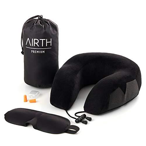 AIRTH® Reise-Nackenkissen Nackenhörnchen aus Memory-Schaum-Stoff (Memory-Foam) hochqualitatives Reisekissen inkl. GRATIS Schlafmaske und Ohrenstöpsel
