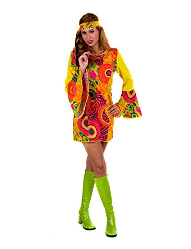 Festartikel Hirschfeld Hippie Kostüm gelb Frau XS / ()