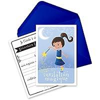 6 Miniz Invit' et enveloppes - cartes d'invitation anniversaire fée - Blue La fée (en français)
