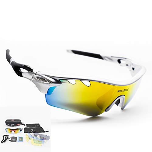 DUBAOBAO Sport Sonnenbrille Für Männer Und Frauen Polarisiert, 5 Austauschbare Objektive UV400 Schutz Angeln Fahren Laufen Golf-Bike-Brillen