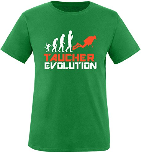 EZYshirt® Taucher Evolution Herren Rundhals T-Shirt Grün/Weiss/Orange