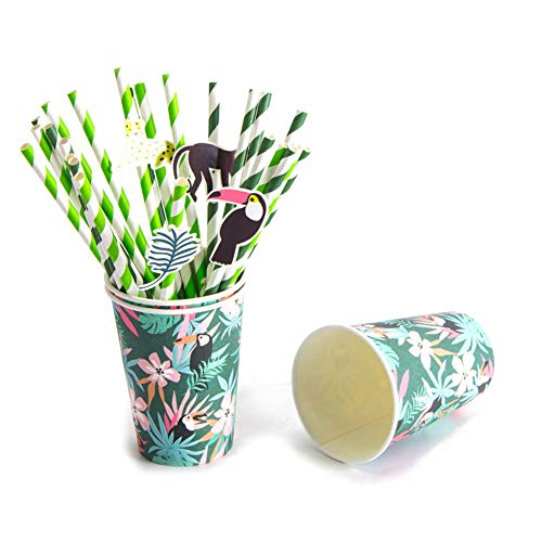 lme Trinkhalme Safari Party Set Partygeschirr Papier Stroh Dschungel Party Supplies Regenwald (Strohhalme) ()