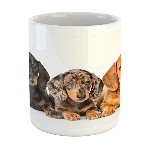 Rongpona Dackel-Becher, niedliche Wurst-Hundewelpen, die zusammen, Bedruckte keramische Kaffeetasse-Wasser-Tee-Getränk-Schale, Dunkles Taupe graues Taupe persisches Orange liegen - Persischen Becher