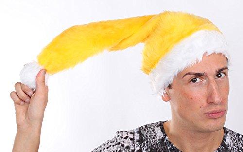 Marco Porta Nikolausmütze Erwachsene Plüsch Weihnachtsmannmütze Plüschmütze Xmas Santa Weihnachten (Gelb) (Gelb Santa Hut)