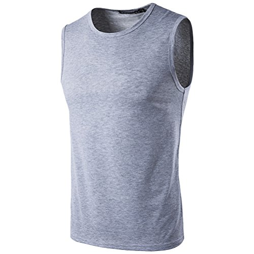 Zhuhaitf weich Men's High Quality Slim Fit Summer Sports Training Casual Vest Light Gray