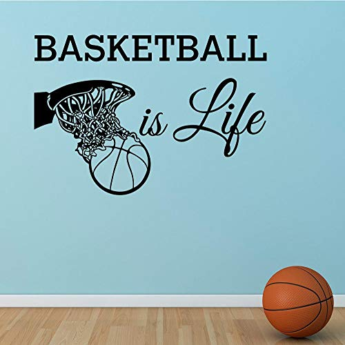 XOOYYY Basketball Ist Leben Wandtattoo Basketballkorb Wand Sport Vinyl Aufkleber Kindergarten Kinder Jugendliche Jungen Room Art Home Decor 56X81Cm