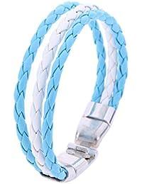 BEBIG Men/Women World Cup National Flag Leather Bracelets Weave Braided Wristband