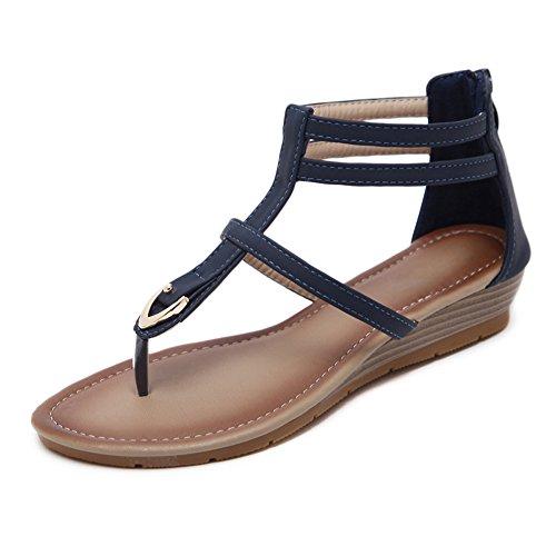 Byjia Frauen Casual Sandalen Sommer Clip Toe Knöchel T-Strap Wedge Flache Schuhe,Blue,37 Arch Wedge Thong