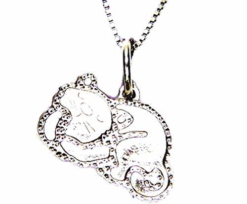Pegaso gioielli - collana oro bianco 18kt con pendente lastra gatto - gattino donna ragazza bambini