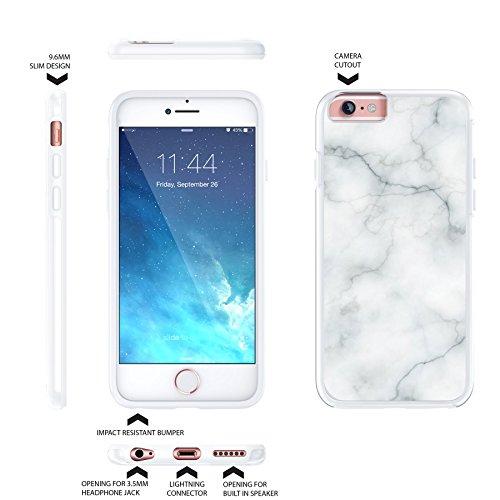 iPhone 6 6s Plus 14cm langlebige Schutzhülle Cover / Case / Hülle / Fall, True Color® Weißer Marmor [Kollektion Stein-Textur] Slim Hybrid Hartschale + Soft-TPU-Bumper [True Protect Serie] iPhone 6 / 6 Weißer Marmor