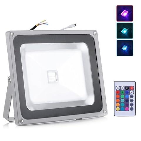 50W LED RGB Floodlight Flood Wash Lamp Outdoor Spotlight IR Remote Control IP65