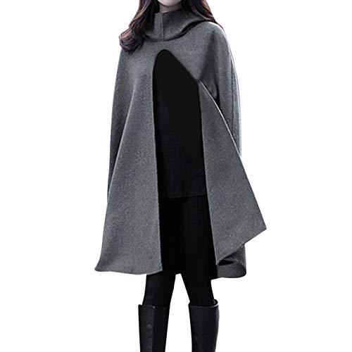 NPRADLA 2018 Mittelalter Umhang Damen Kapuze Einfarbig Elegant Frauen Trenchcoat Open Front Cardigan Jacke Mantel Cape Poncho Oversized (XL, X-Dunkelgrau)