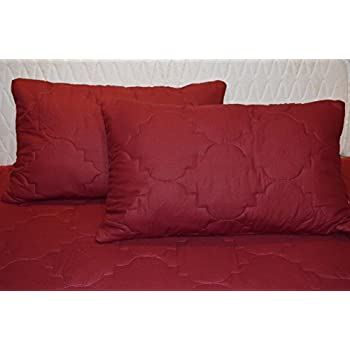 Trance Cotton Quilted Pillow Protector Dust Free Water Resistant Covers Pack of 2pcs (20 X 30) Maroon