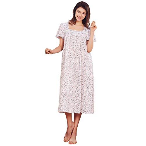 Dorekim Damen Nachthemden Baumwolle Nachthemd Kurzarm Sleepshirt Lang Schlafkleid DK1946 (S/M) (Nachthemd Stricken Baumwolle)