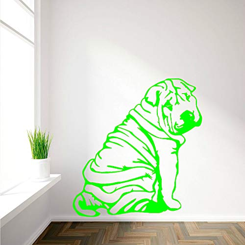 Mignon Chien Stickers Muraux Animaux Stickers Muraux Pour Chambre Salon Vinyle Stickers Muraux Décor À La Maison Art Mural vert 42x49 cm