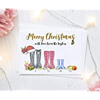 Personalised Family Christmas Card Packs of Ten, Wellington Boots, Free Envelopes