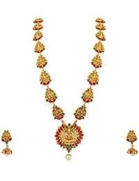 Meenaz Temple Jewellery Traditional One Gram Pearl Gold Laxmi Pendant Necklace Set/Jewellery Set Jhumka Jhumki...