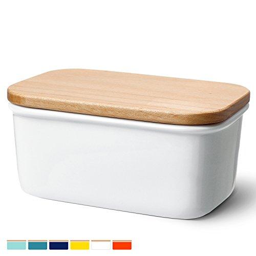 Sweese 3157 Butterdose mit Deckel, Hochwertig Porzellan und Holzdeckel, Weiß, groß