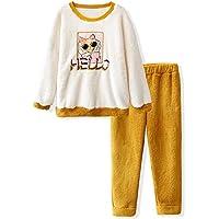 DUKUNKUN Pijamas De Jengibre Dibujos Animados Lindos Bordado De Gatos Espesar Dulce Pijamas Cálidos,S