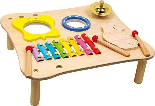 1166 Tavolo musicale in legno small foot, incl. xilofono, tamburello, bacchette in legno, a partire da 3 anni