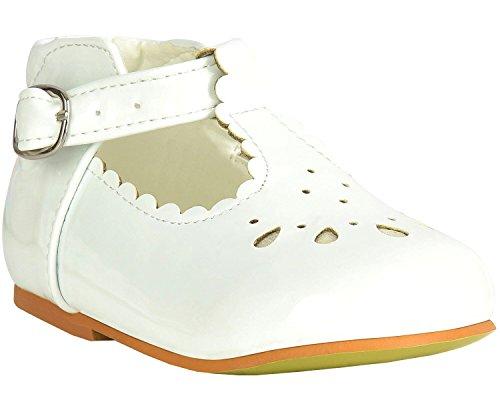 Mädchen Brautjungfern Party Schuhe Lackschuhe Säuglingsgrößen 1,2,3,4,5,6,7,8,9,10 (Elfenbein Kleinkind-mädchen-kleid-schuhe)