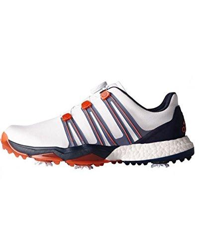 Adidas Herren Powerband Boa Boost WD Golf Schuhe, Mehrfarbig (weiß/orange/schwarz), 44 EU