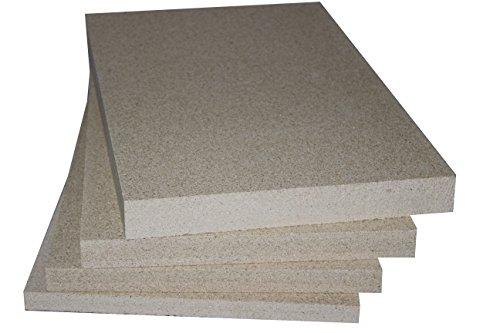 Vermiculite Schamotte Ersatz, 3 Platten 500 x 300 x 30 mm, Feuerraum Auskleidung