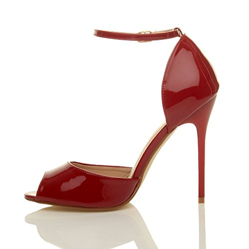 Femmes talon haut aiguille sangle de cheville boucle sandales chaussures peep toe escarpins pointure Verni bordeaux rouge foncé