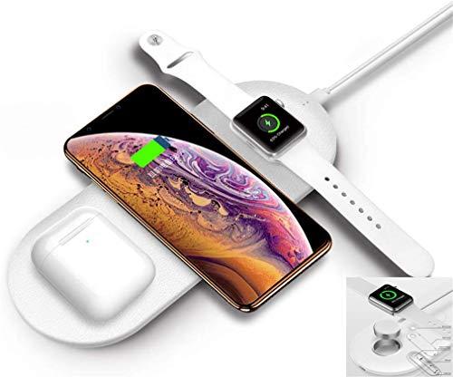 QKa Dual-Wireless-Schnell-Ladegerät, 3-in-1 Wireless Charging Pad mit 1-Uhr-Ladebereich, Induktions-Ladestation für (i) Telefon XS Max, Galaxy, All Qi-fähiges Gerät,Weiß