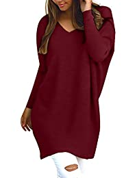 StyleDome Femme Oversize Pull Tops Col V Manches Longues Casual Shirt Robe Tunique Blouse