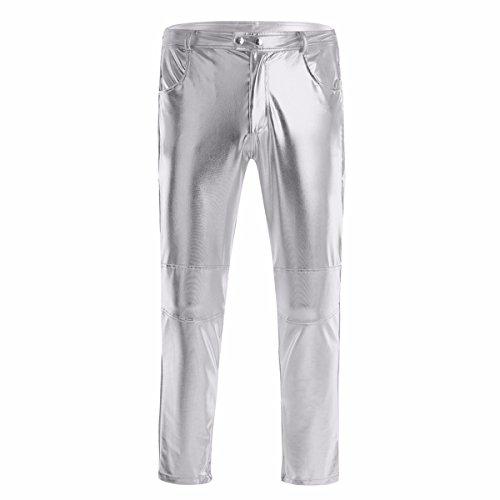 YiZYiF Glänzende Herren Slim Fit Soft PU Faux Leder Biker Hose Trachtenlederhose Trachtenlederhose Lederhosen Silber Medium -
