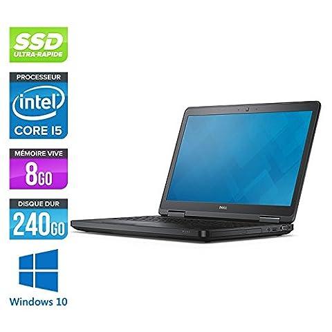 Dell Latitude E5540 - PC portable - 15.6'' - Gris (Intel Core i5 4300U / 1.9 GHz, 8 Go de RAM, Disque SSD 240 Go, DVDRW, HDMI, Wifi, Bluetooth, Webcam, Windows 10 Professionnel)