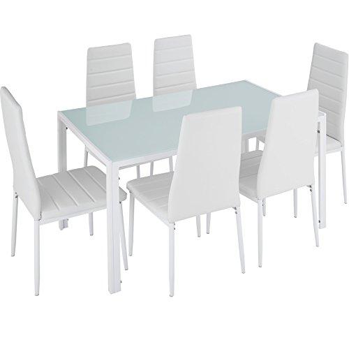 TecTake Conjunto de Mesa y 6 sillas de Comedor (Blanco | No....