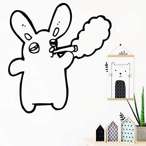 Kreative Kaninchen Wandtattoo Wohnzimmer Removable Wohnzimmer Schlafzimmer Wandkunst Aufkleber Wandbilder Vinilo Decorativo 42 cm X 44 cm (Halloween Namen Rip)