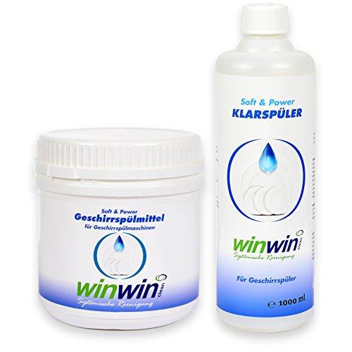 winwin clean Systemische Reinigung winwinCLEAN Set: Maschinen-GESCHIRRSPÜLMITTEL 500g + KLARSPÜLER 1000ml -