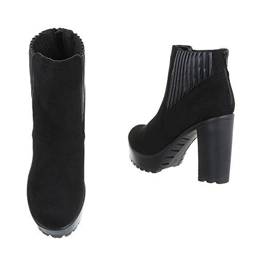 Ital-Design High Heel Stiefeletten Damenschuhe Schlupfstiefel Pump High Heels Reißverschluss Stiefeletten Schwarz