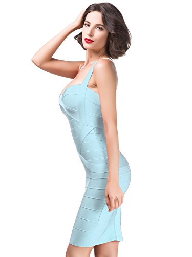 Alice & Elmer Damen Rayon Bodycon Strap Sleeveless Bandage Evening Cocktailkleid Party Dress Abend Club Kleid Azure