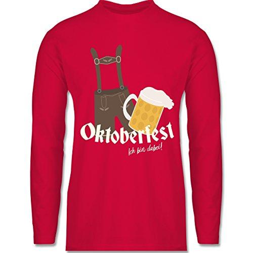 Kostüm Dude Love - Shirtracer Oktoberfest Herren - Oktoberfest - Ich Bin dabei! Lederhose - 3XL - Rot - BCTU005 - Herren Langarmshirt