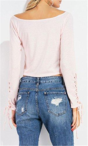 BESTHOO T-Shirt Donna Maglietta Manica Lunga Girocollo Casuale Camicetta Bendaggio T-Shirt Tops Slim Pink