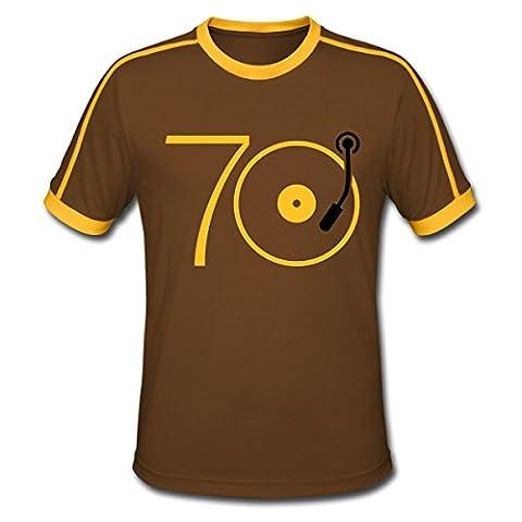 Musik der 70er Platte Retro Männer Retro-T-Shirt von Spreadshirt®, XXL, Chocolate/Sun