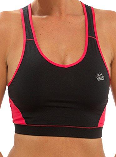 Mesdames Gym ou Sport Fitness Mix et Match de haut et bas noir avec petit bleu violet ou rose en taille M ou L noir - Crop Top-Black/Pink
