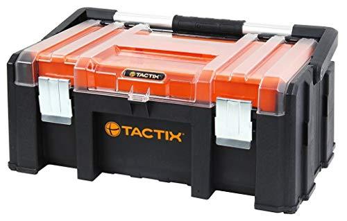 XL Werkzeugkoffer 20 Zoll aus robustem Kunststoff mit zwei anhängbaren Werkzeugboxen und herausnehmbaren Werkzeugträger. Mit Metallverschlüssen, abschließbar. Maße: 51 x 32 x 22 cm