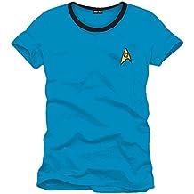 Star Trek - camiseta del uniforme de Mr. Spock - para trekkies - algodón - azul